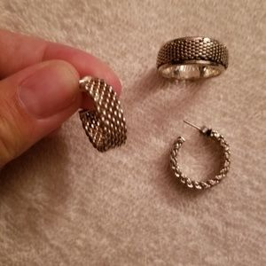 Sterling Silver Mesh Earrings and Ring set